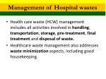 management of hospital wastes