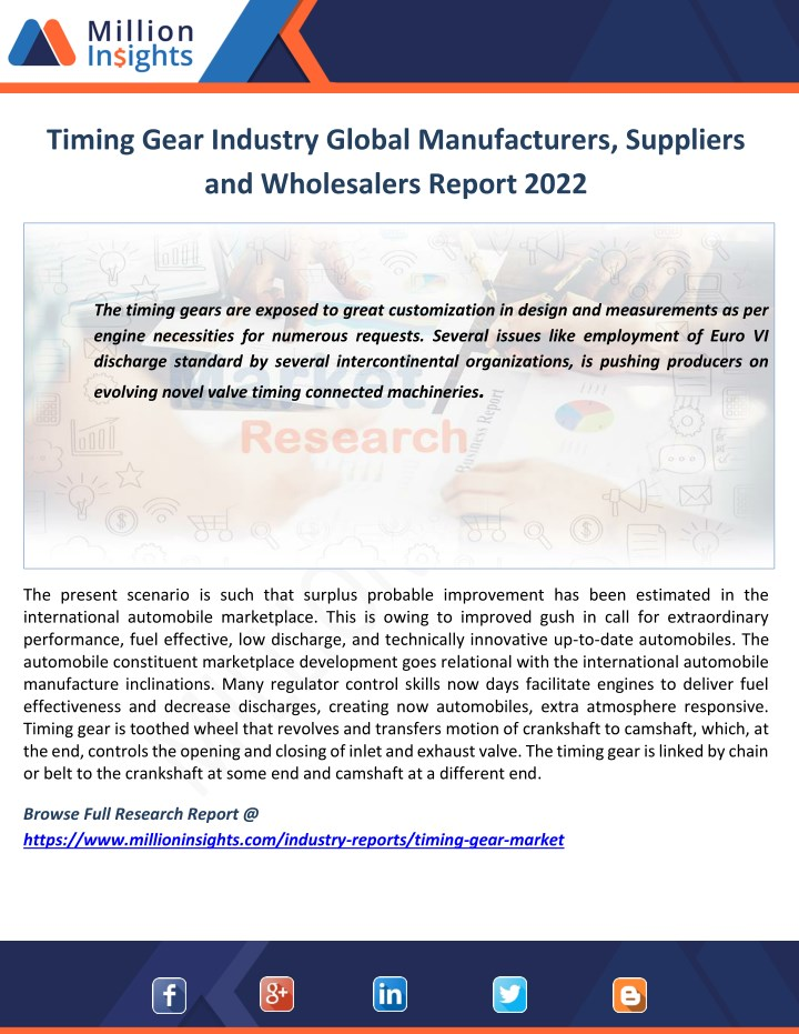 timing gear industry global manufacturers n.