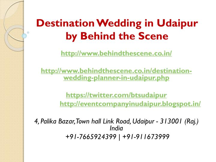 destination wedding in udaipur by behind the scene n.