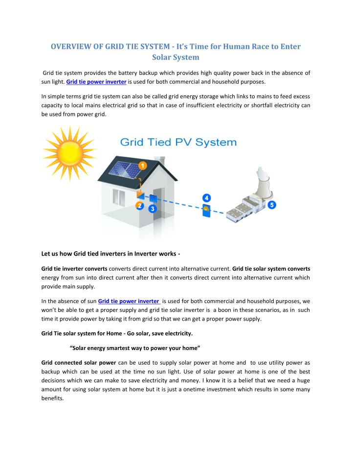 overview of grid tie system it s time for human n.