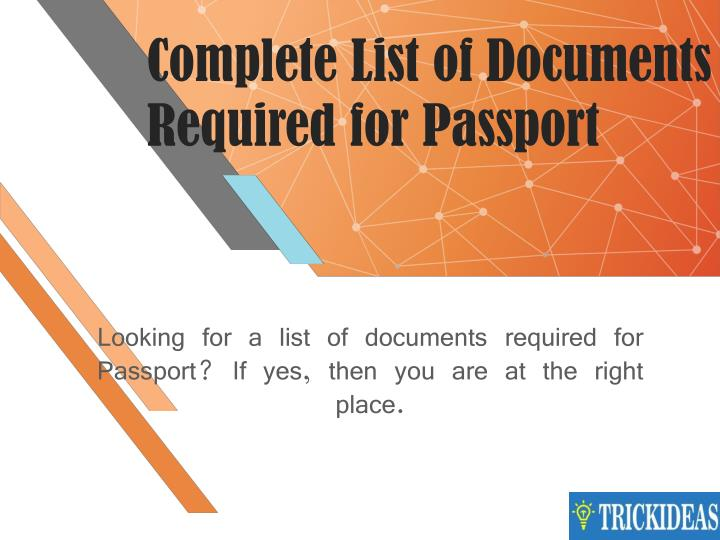 complete list of documents required for passport n.