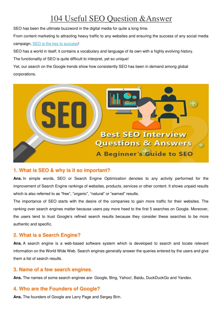 104 useful seo question answer n.