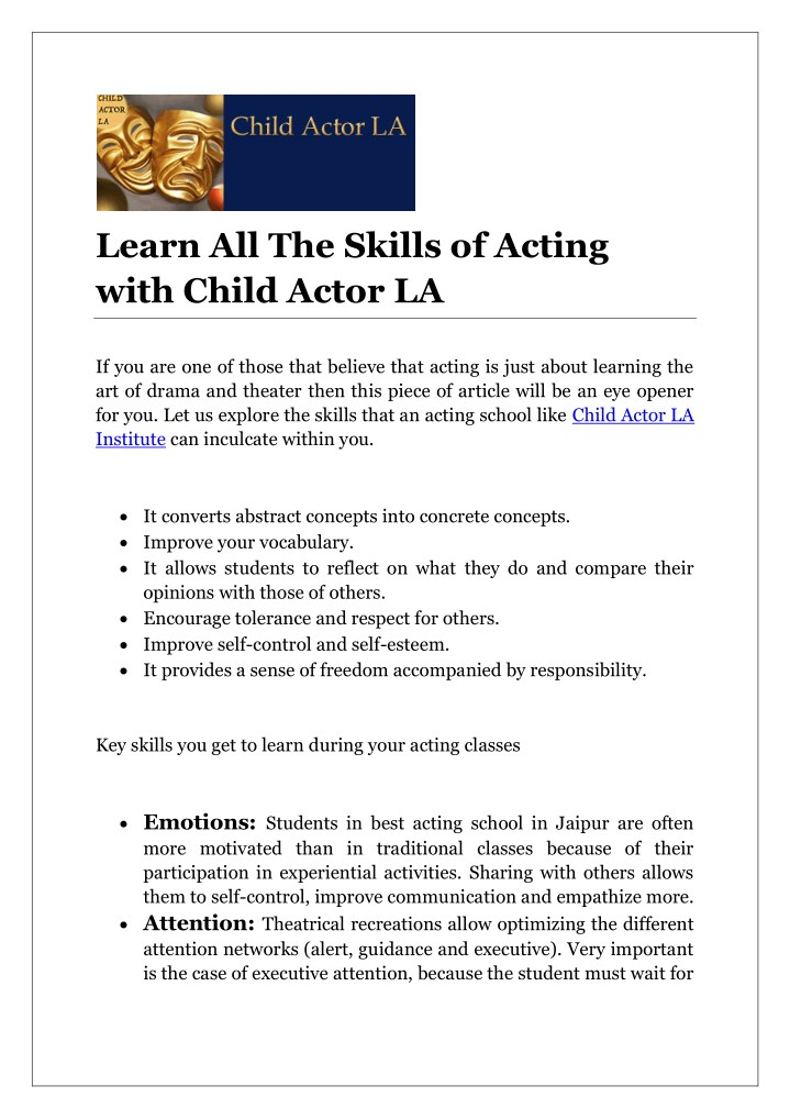 learn all the skills of acting with child actor la n.