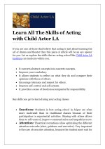 learn all the skills of acting with child actor la