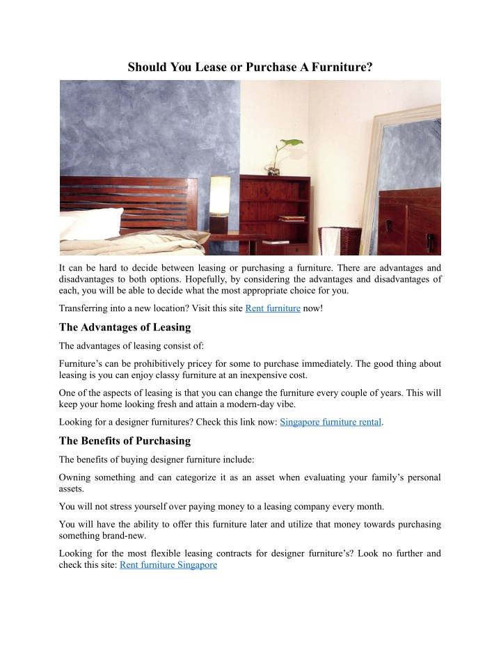 should you lease or purchase a furniture n.