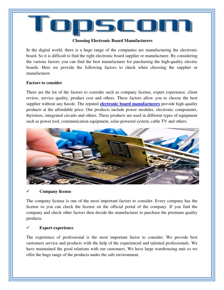 choosing electronic board manufacturers n.