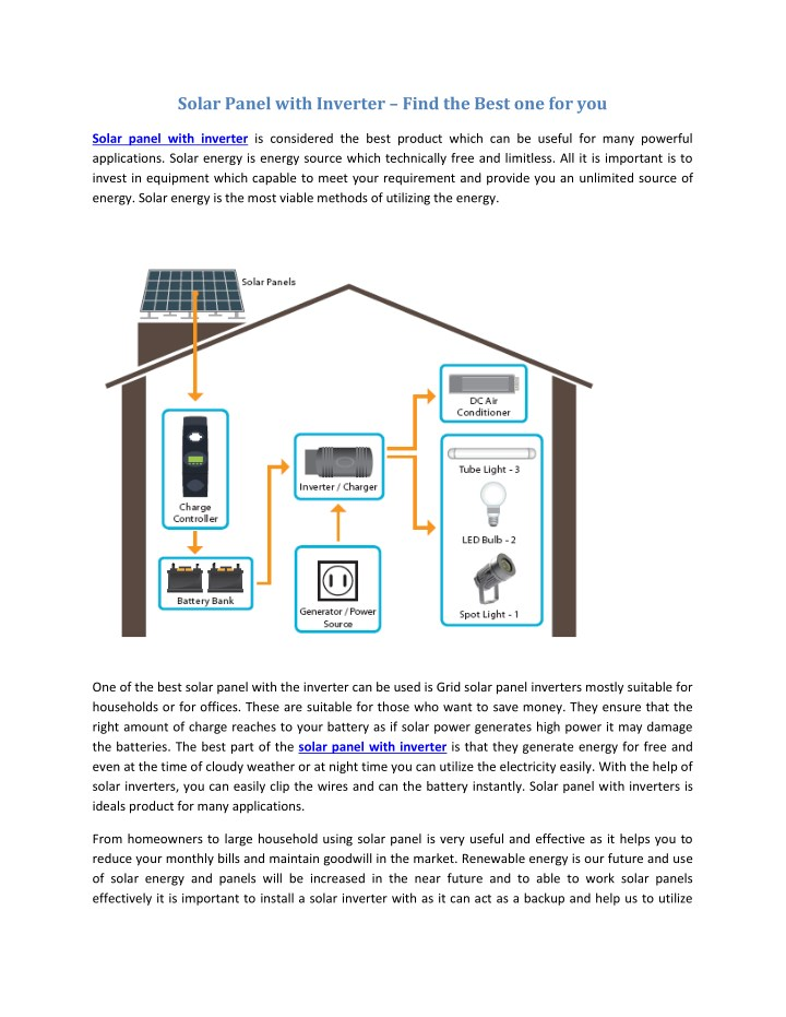 solar panel with inverter find the best n.