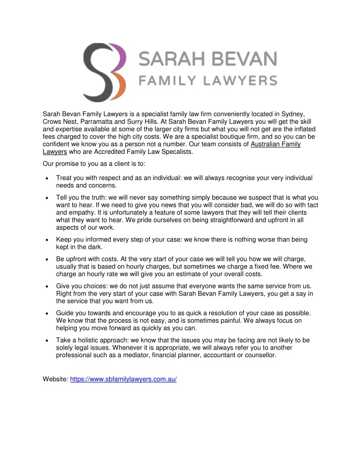 sarah bevan family lawyers is a specialist family n.