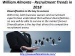william almonte recruitment trends in 2018 2