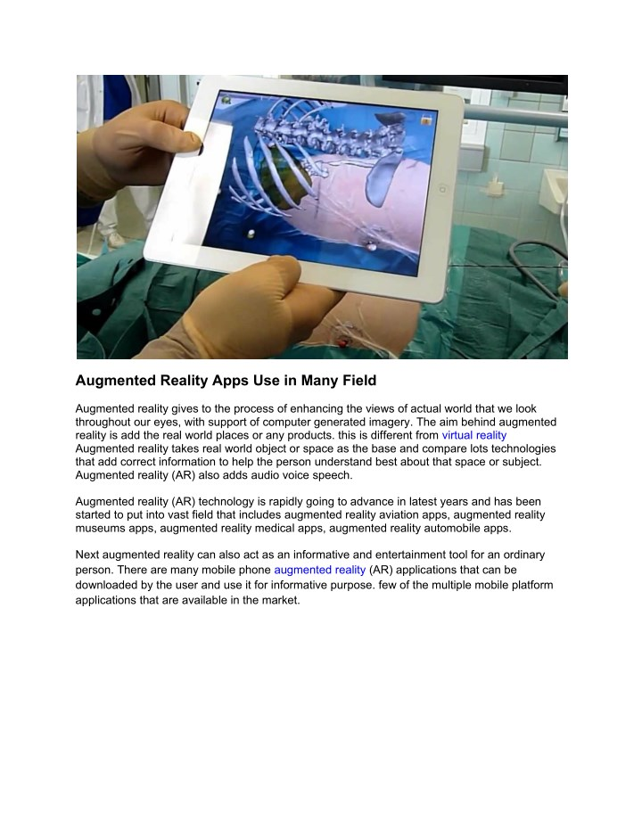 augmented reality apps use in many field n.