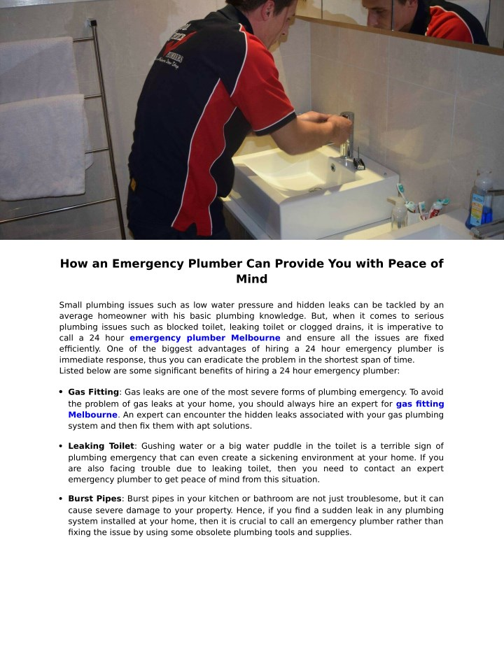 how an emergency plumber can provide you with n.