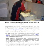 how an emergency plumber can provide you with