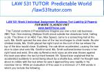 law 531 tutor predictable world law531tutor com 20