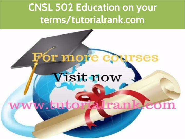 cnsl 502 education on your terms tutorialrank com n.
