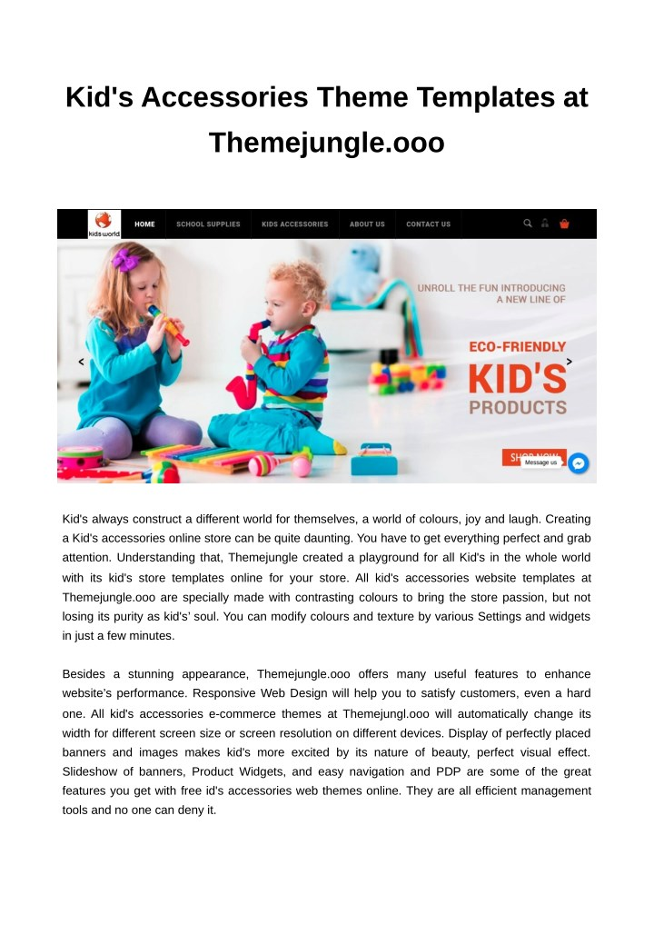 kid s accessories theme templates at themejungle n.