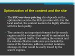 optimization of the content and the site