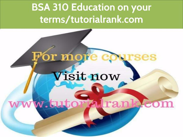 bsa 310 education on your terms tutorialrank com n.