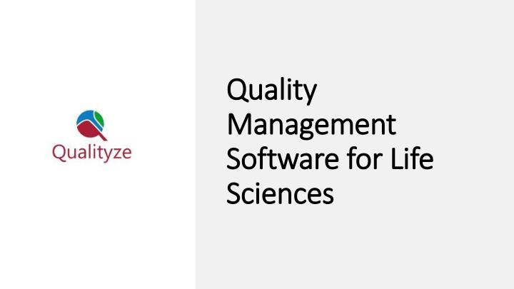 quality management software for life sciences n.
