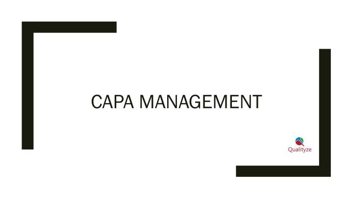 capa management n.