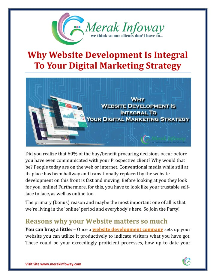 why website development is integral to your n.