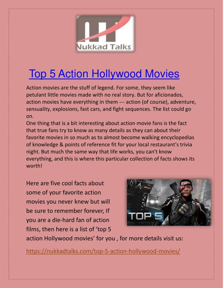top 5 action hollywood movies n.
