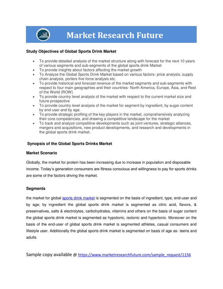 study objectives of global sports drink market n.