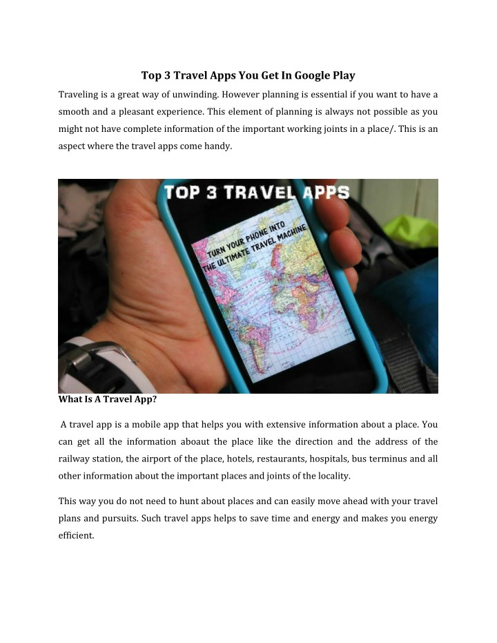 top 3 travel apps you get in google play n.