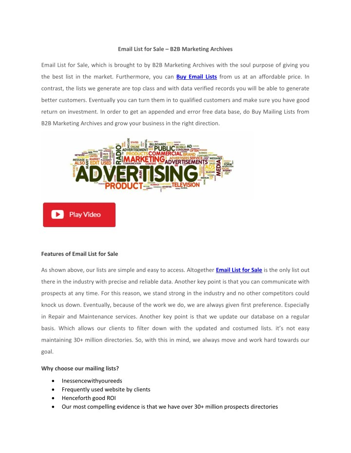 email list for sale b2b marketing archives n.
