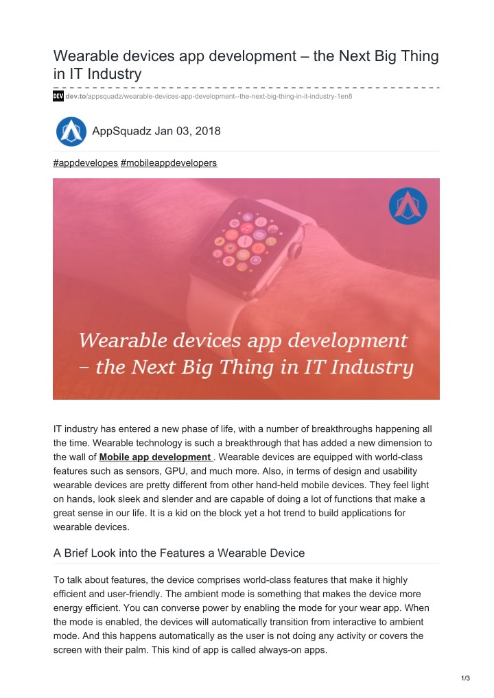 wearable devices app development the next n.
