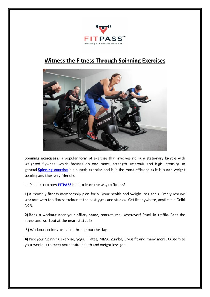 witness the fitness through spinning exercises n.
