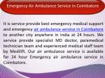 emergency air ambulance service in coimbatore