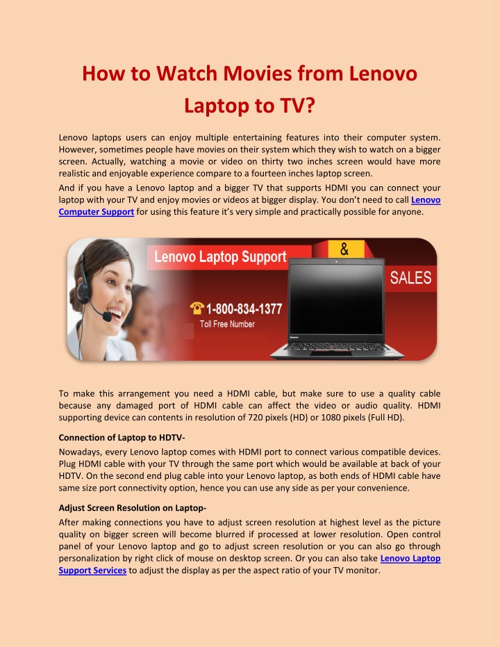 how to watch movies from lenovo laptop to tv n.