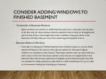 consider adding windows to finished basement 1