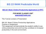 bis 221 rank predictable world 13