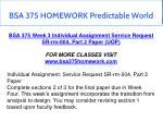 bsa 375 homework predictable world 15