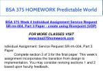 bsa 375 homework predictable world 18