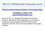 bsa 375 homework predictable world 3