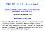 bshs 375 help predictable world 3