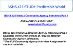 bshs 425 study predictable world 3