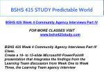 bshs 425 study predictable world 9