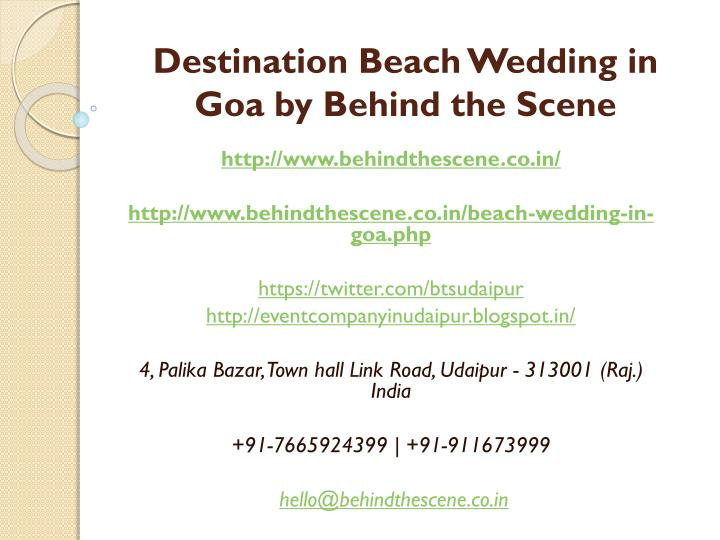 destination beach wedding in goa by behind the scene n.