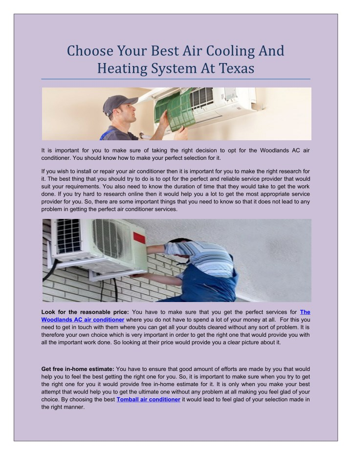 choose your best air cooling and heating system n.