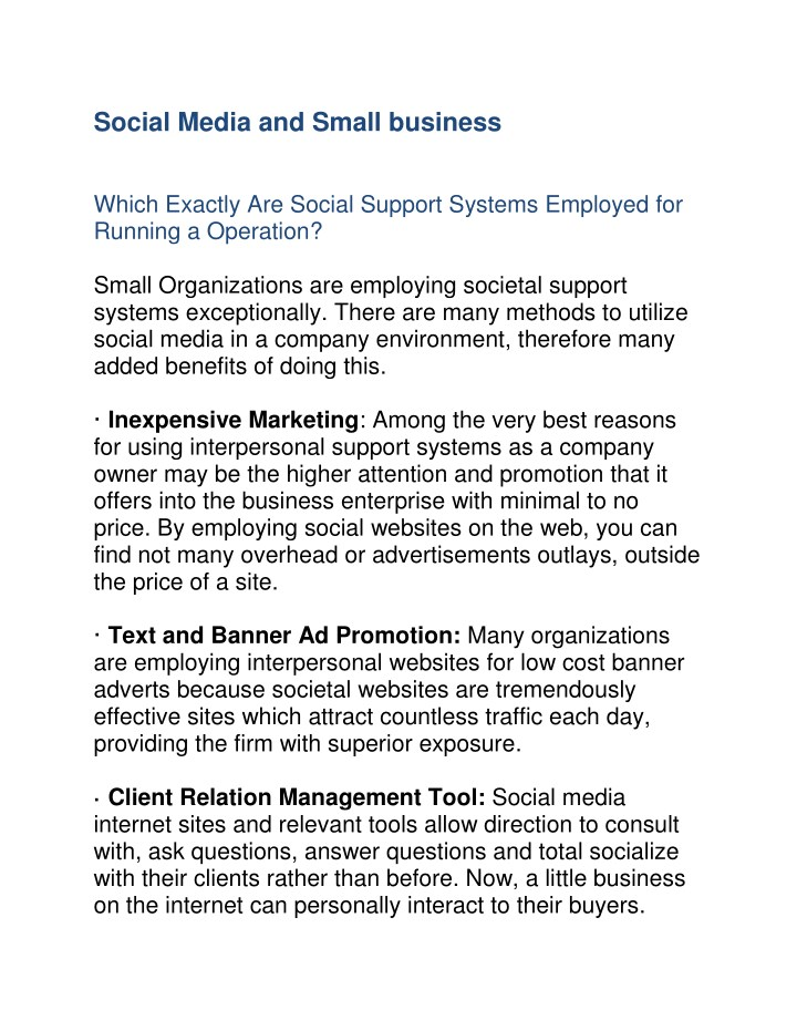 social media and small business which exactly n.