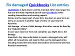 fix damaged quickbooks list entries