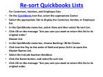 re sort quickbooks lists