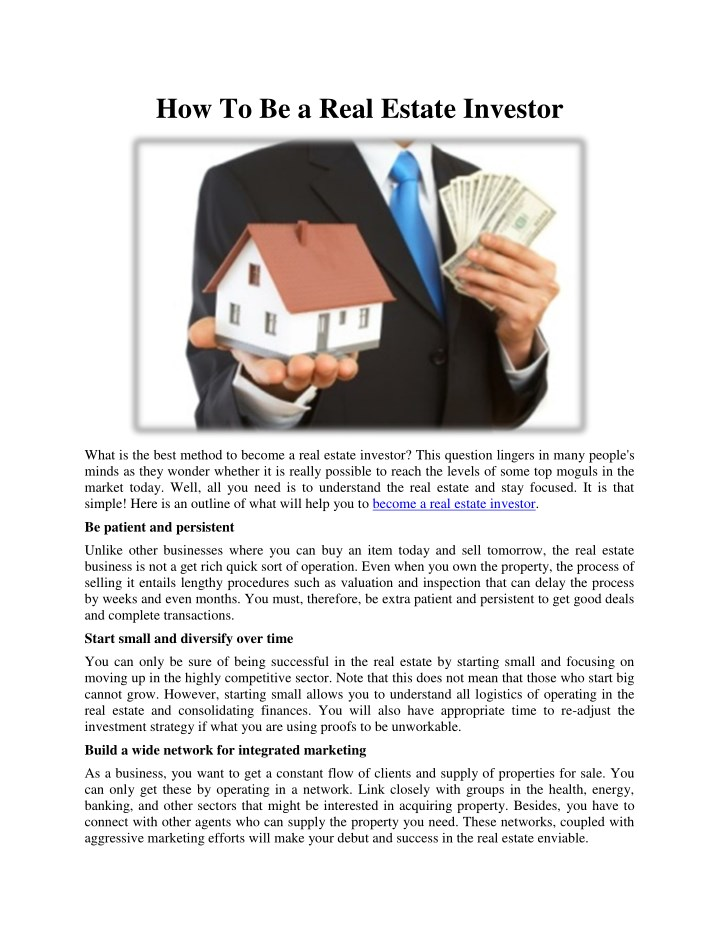 how to be a real estate investor n.