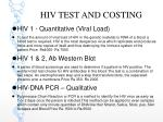 hiv test and costing