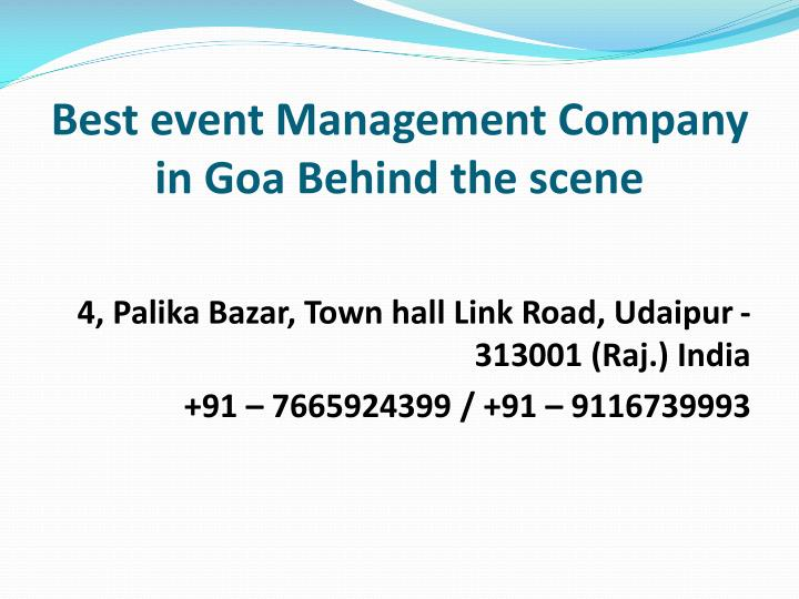 best event management company in goa behind the scene n.