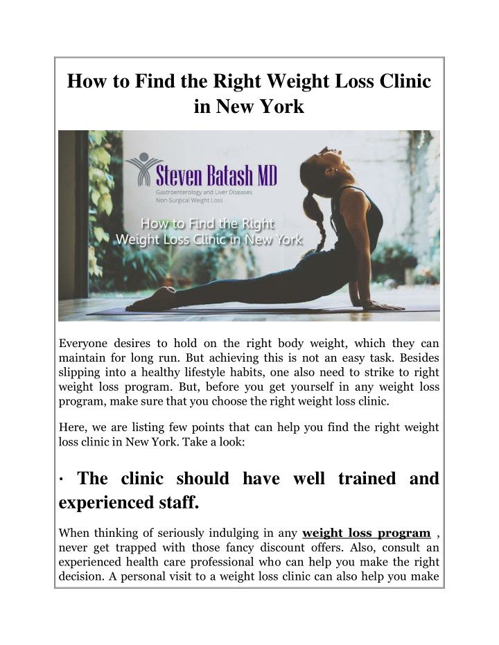 how to find the right weight loss clinic n.