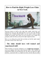 how to find the right weight loss clinic